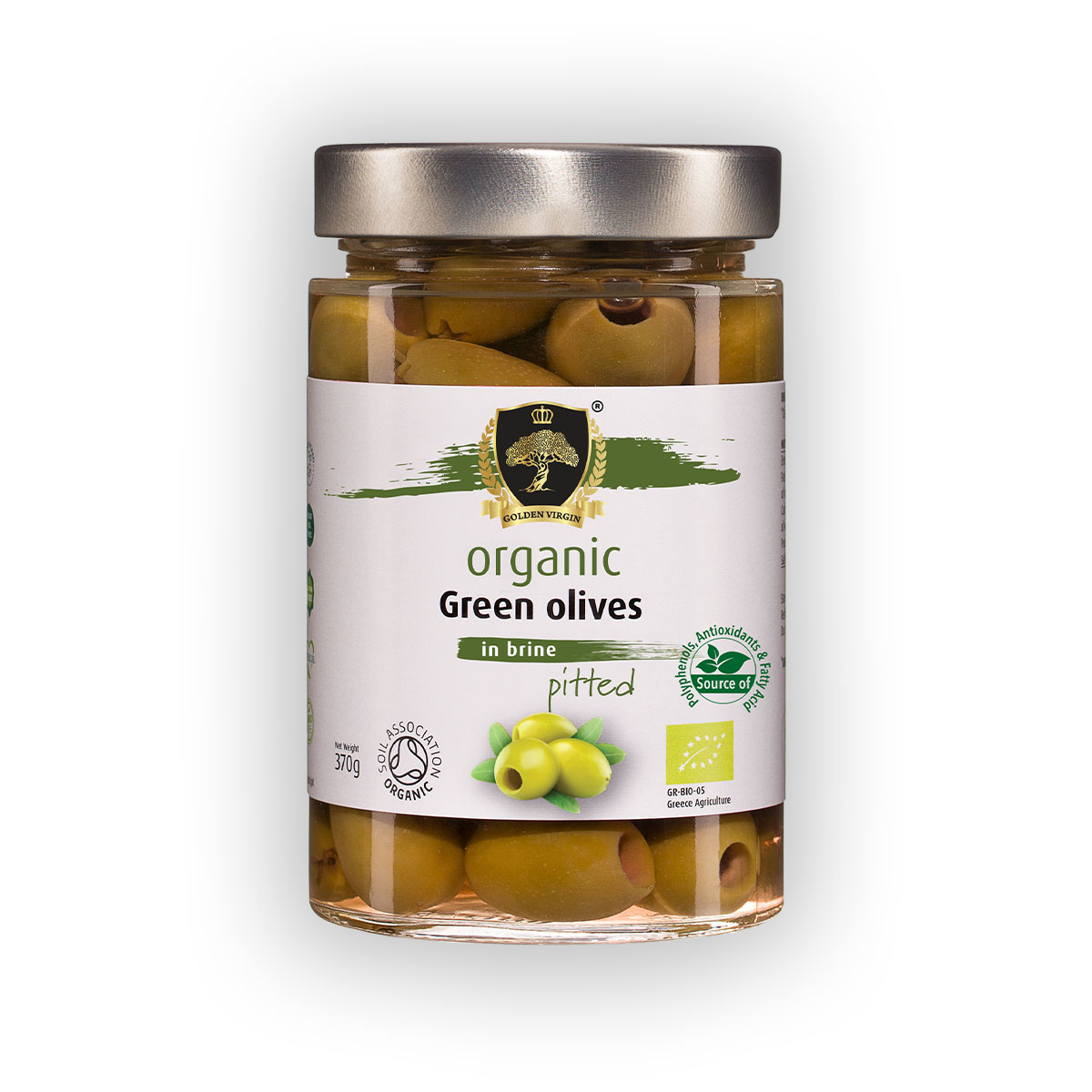Organic Green Olives in brine - Pitted - Golden Virgin Foods