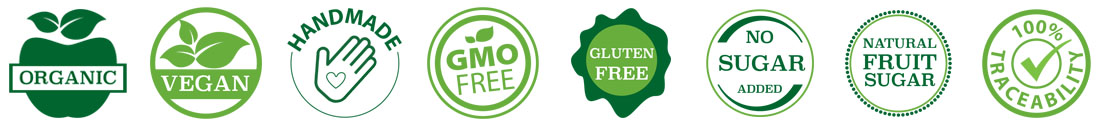 Icons for product characteristics - Vegan - Handmade - GMO Free - Gluten Free - No Sugar Added - Natural Fruit Sugar - Traceability